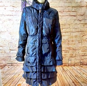 RARE Tiered navy black trench coat puffy